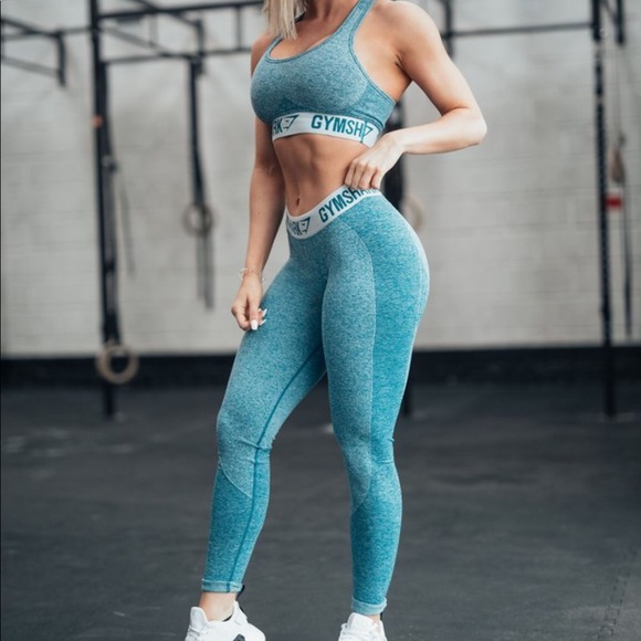 d863f2b8a Gymshark Flex Set Deep Teal and Ice Blue with tag